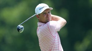 JULY 27: Justin Rose of England watches his tee shot on the second hole during the third round of the World Golf Championship-FedEx St Jude Invitational at TPC Southwind on July 27, 2019 in Memphis, Tennessee. (Photo by Matt Sullivan/Getty Images)