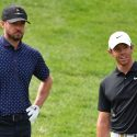 CRANS-MONTANA, SWITZERLAND - AUGUST 28: Singer Justin Timberlake of USA and Rory McIlroy of Northern Ireland during the pro-am prior to the start of the Omega European Masters at Crans Montana Golf Club on August 28, 2019 in Crans-Montana, Switzerland. (Photo by Stuart Franklin/Getty Images)