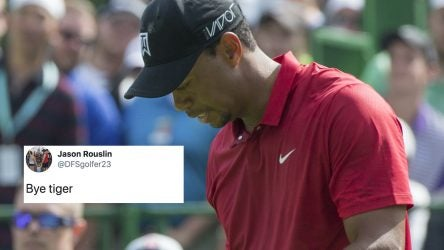 June 07 2015: Tiger Woods punches his leg after teeing off on the 15th hole during the final round of the Memorial Tournament held at the Muirfield Village Golf Club in Dublin, Ohio. (Photo by Jason Mowry/Icon Sportswire/Corbis via Getty Images)