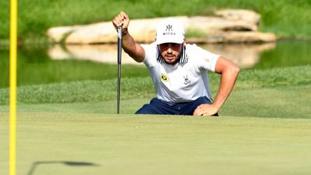 Abraham Ancer lines up a putt during the third round of The Northern Trust.