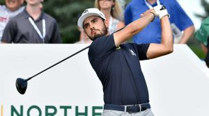 Abraham Ancer tees off during the final round of The Northern Trust.