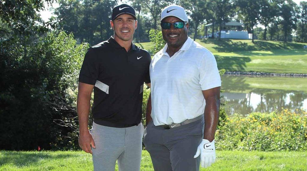Brooks Koepka poses with BMW Pro-Am partner Bo Jackson on Wednesday.
