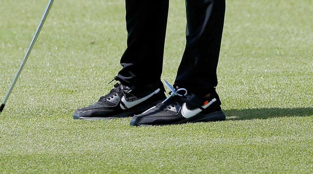 Brooks Koepka wore a pair of custom Off-White Nike Air Max 90 golf shoes.