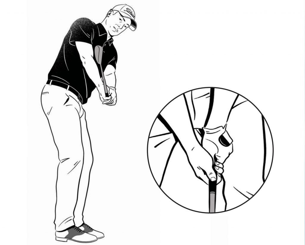 "Get into your setup, stretch the club out in front of you, then rotate back. Check that the clubhead is in line with your hands when the shaft is parallel to the ground. Next, return to address and make your normal swing. This simple drill helps keep the club in front of you. It's saved me a lot, because if the clubhead ever gets behind my hands, I'm usually toast. In addition to this drill, I'm always checking my grip. I prefer it slightly stronger than neutral, which helps me flight my wedges lower and with more spin. When I look down, I want to see two knuckles on my left hand and confirm that the ""V"" in my right hand points toward my right shoulder"