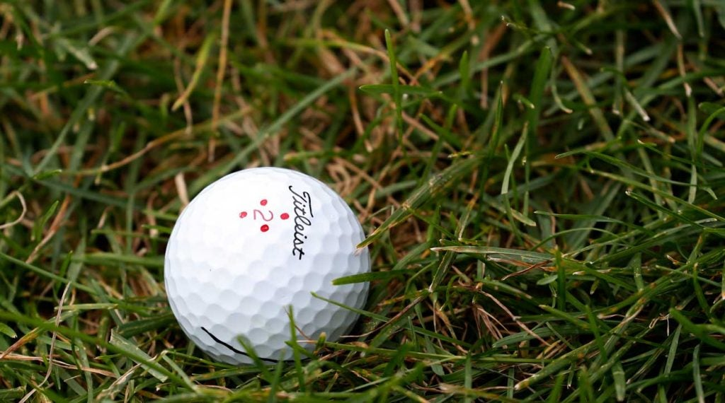 Justin Thomas' golf ball pictured during the final round of the 2019 BMW Championship at Medinah