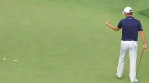 Emiliano Grillo flips off cup at Northern Trust