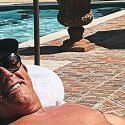 Phil Mickelson shirtless by the pool