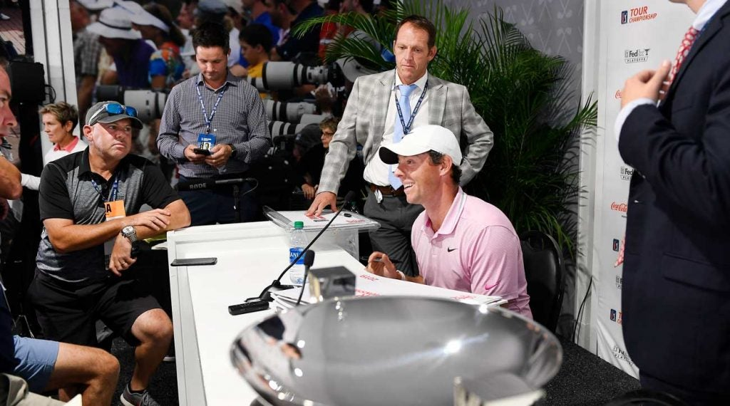 Rory McIlroy stayed after his press conference to take further questions from reporters.