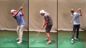 Justin Thomas, Rickie Fowler and Jordan Spieth practice lefty swings