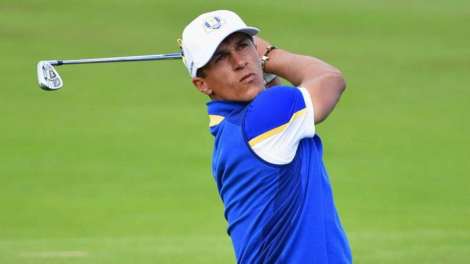 Thorbjorn Olesen watches a shot during the 2018 Ryder Cup in Paris, France.
