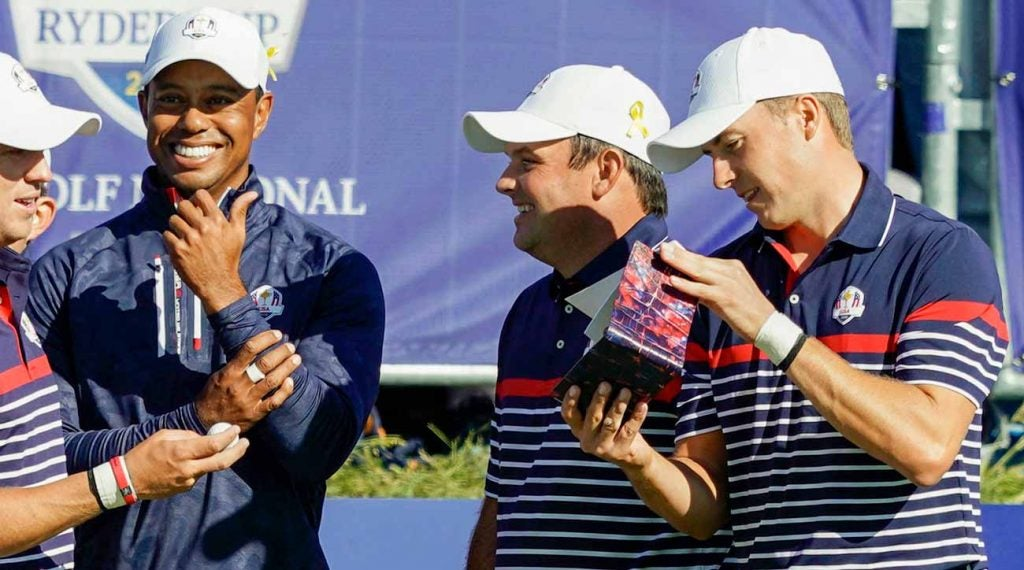 Tiger Woods, Patrick Reed and Jordan Spieth at the 2018 Ryder Cup.