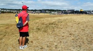 A marshal watches the action at the Open Championship.