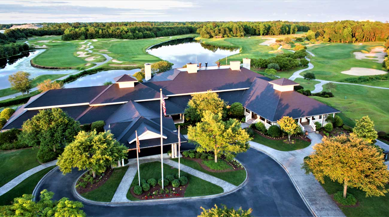 The clubhouse at the Dye Course at Barefoot Resort.