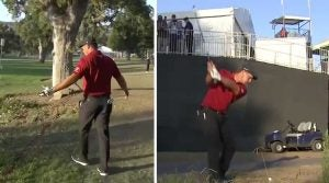 """Bryson DeChambeau was eventually granted """"maximum relief"""" from a Temporary Immovable Obstruction on No. 18"""