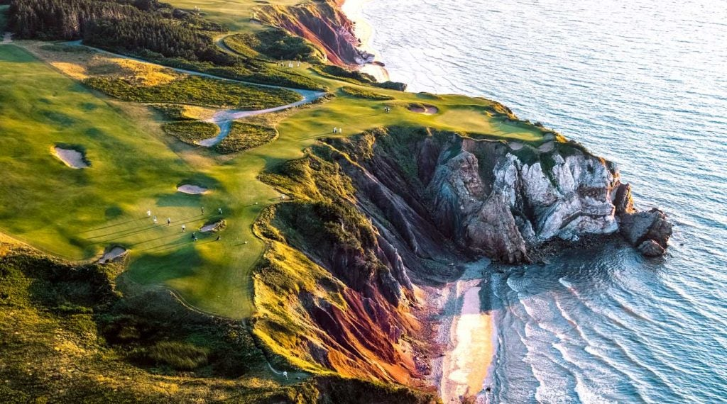 The magical Canadian links-style resort of Cabot Links towers over the Gulf of St. Lawrence and takes golfers on a wild ride through dunes and along cliffs.