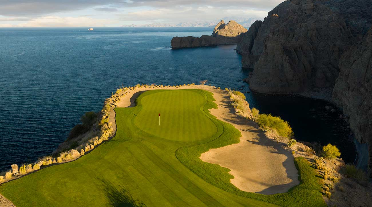 The Rees Jones-designed TPC Danzante Bay golf course's 178-yard par-3 17th hole.