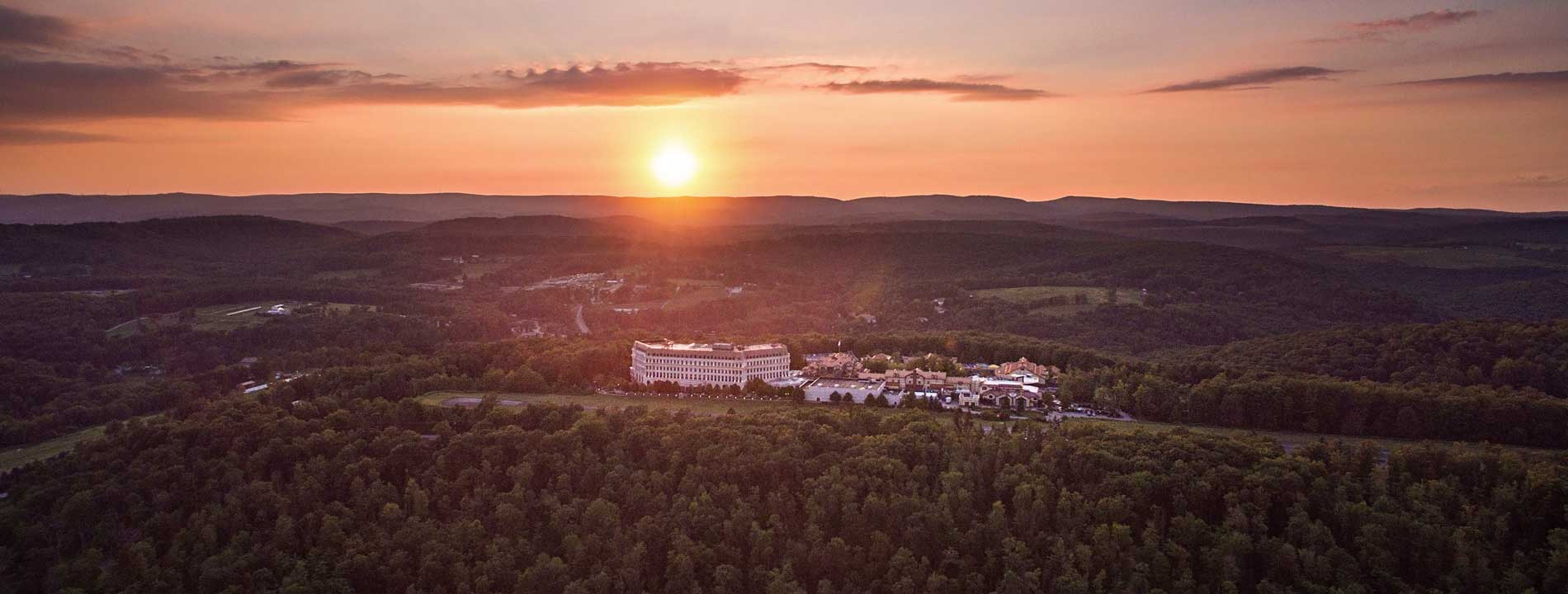 An aerial view of Nemacolin Woodlands Resort.
