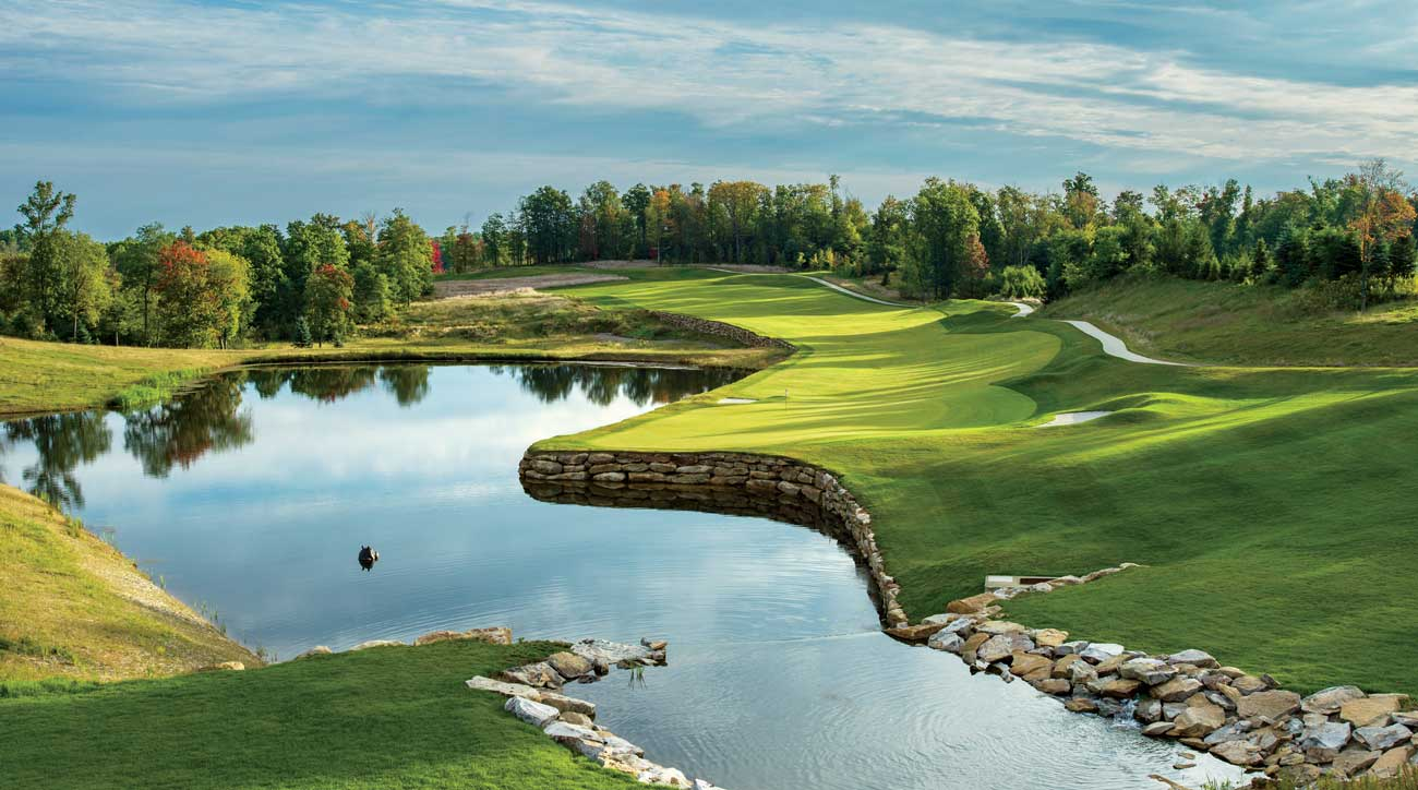 The 18th hole at Shepherd's Rock at Nemacolin Woodlands Resort.