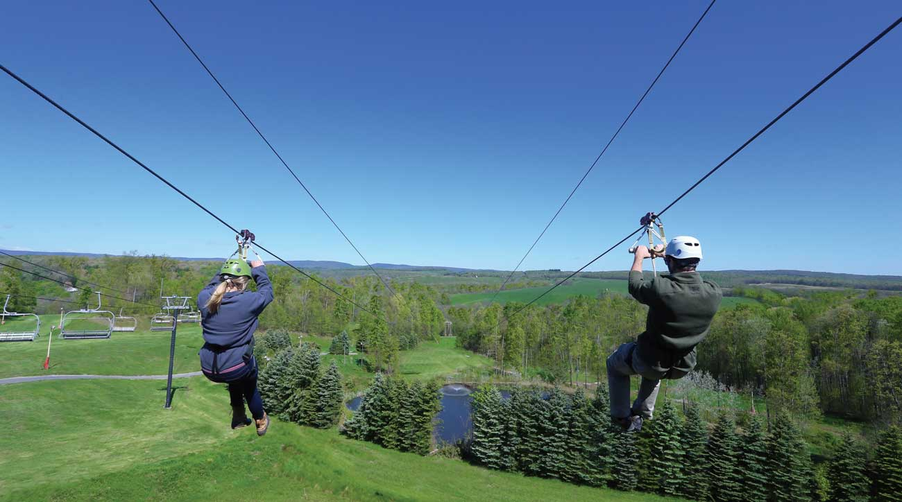 A Zip line is one of many non-golf activities available at Nemacolin Woodlands Resort.