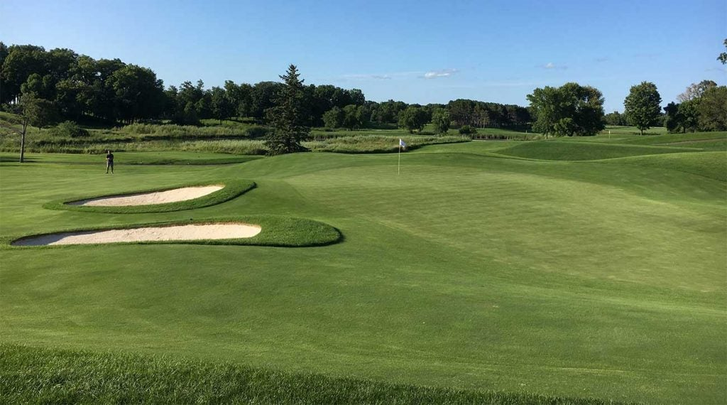 A view from the right side of the green on the par-4 17th hole.