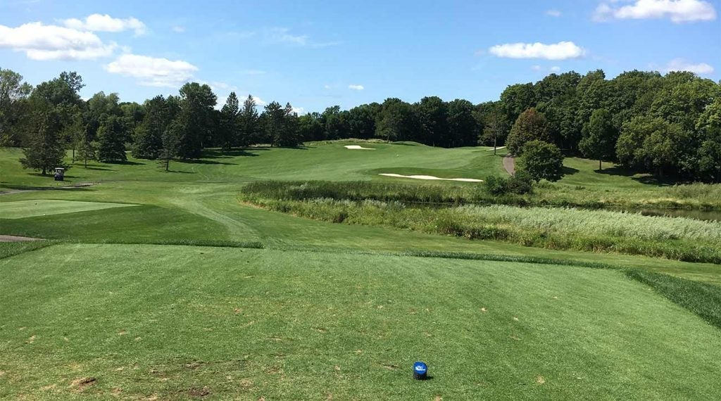 The par-4 4th hole at Rush Creek. The second shot is mostly blind into a green where you don't want to miss short or left.