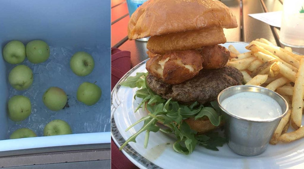 At Rush Creek you can grab an apple on the 1st tee (left) and then get some amazing grub (like the cheese curd burger and fries) on the patio afterward.