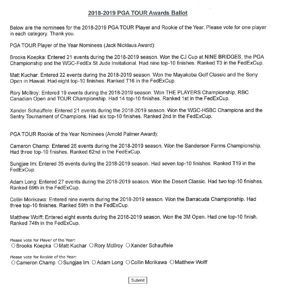 The 2019 PGA Tour Player of the Year ballot.