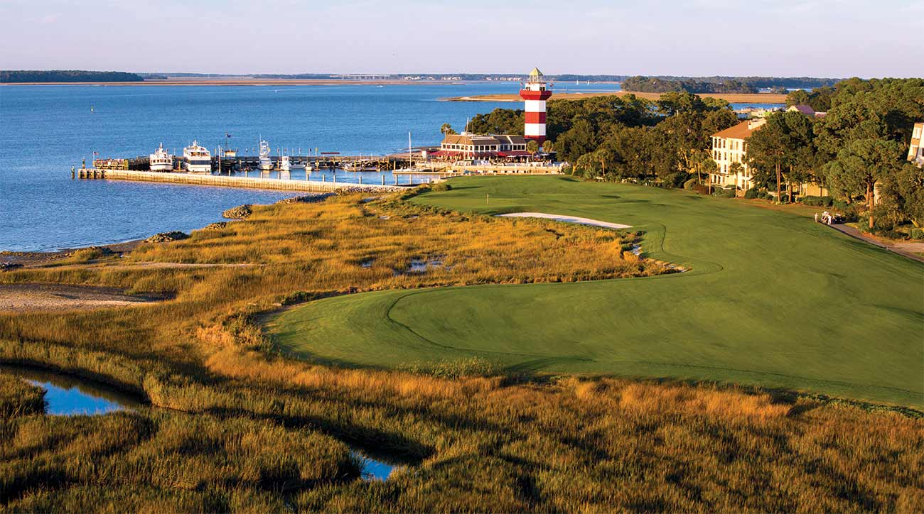 The view of the iconic 18th hole at Harbour Town at Sea Pines Resort.