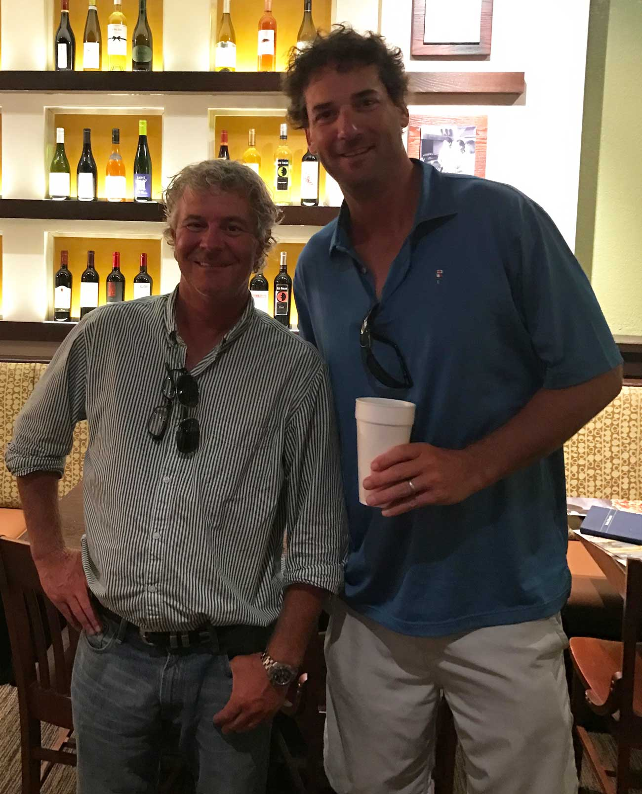 Tad King (left) and Rob Collins (right) at the Carrabba's where their partnership first began.