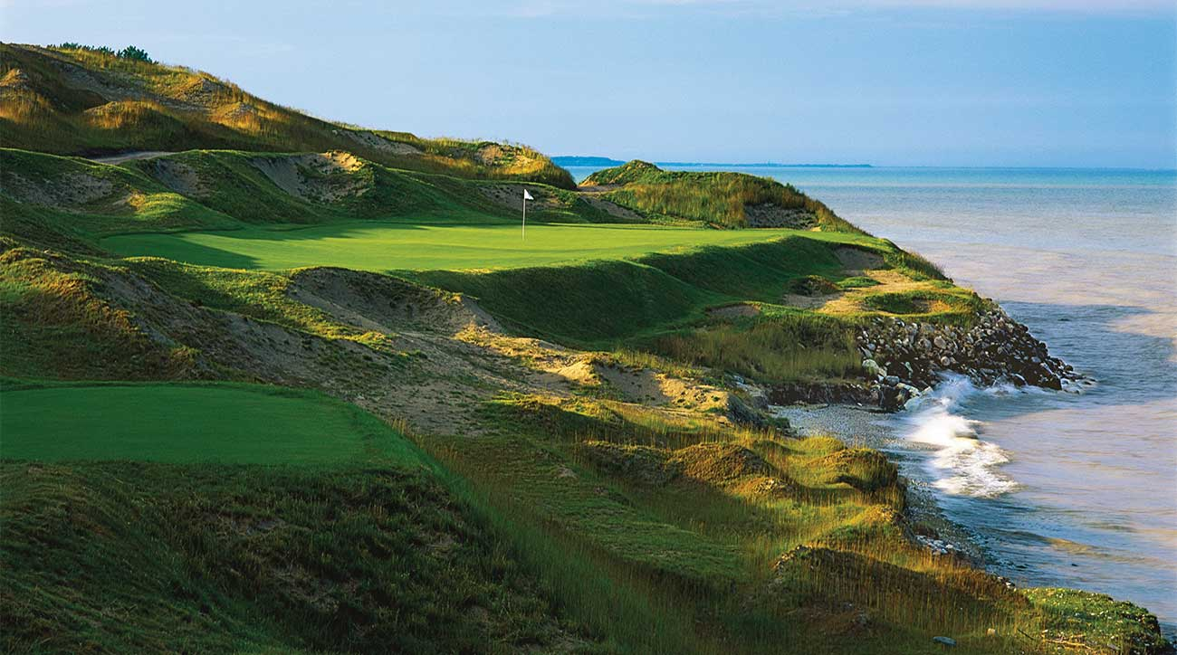 A view of one of the par-3s on the Straits course at Whistling Straits.