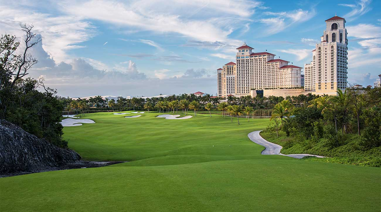 A look at the Jack Nicklaus-designed Royal Blue Golf Club, with the Baha Mar Resort in the background, in the Bahamas.