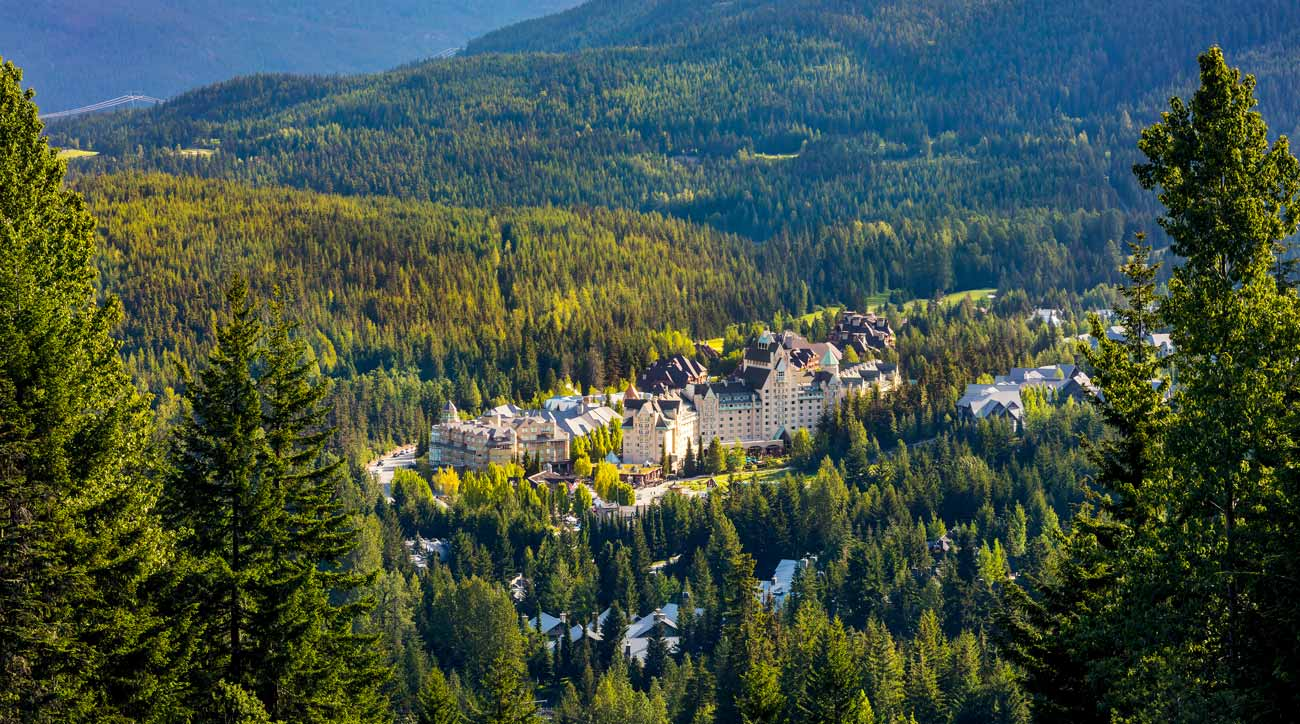 An aerial view of Fairmont Chateau Whistler Resort.
