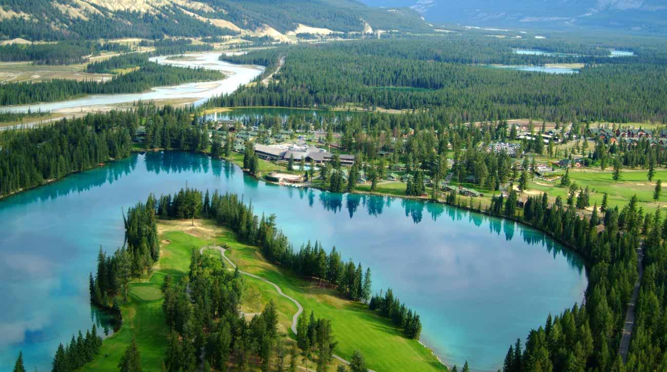An aerial view of Fairmont Jasper Park Lodge.