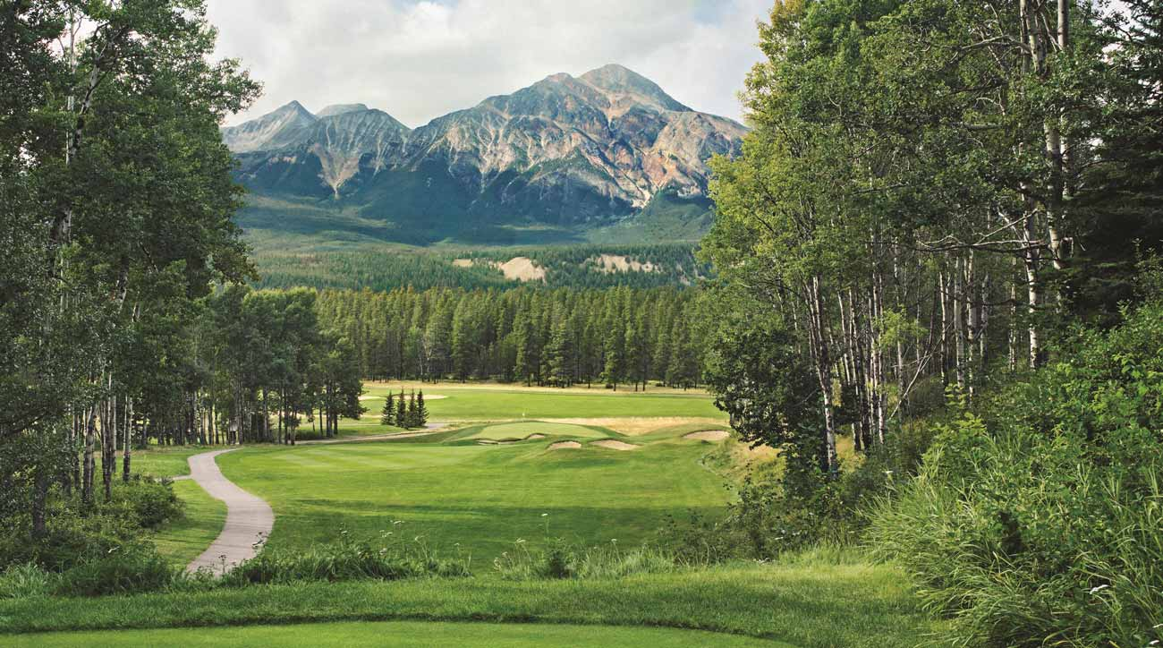 The golf course at Fairmont Jasper Park Lodge features mountain views on every hole.
