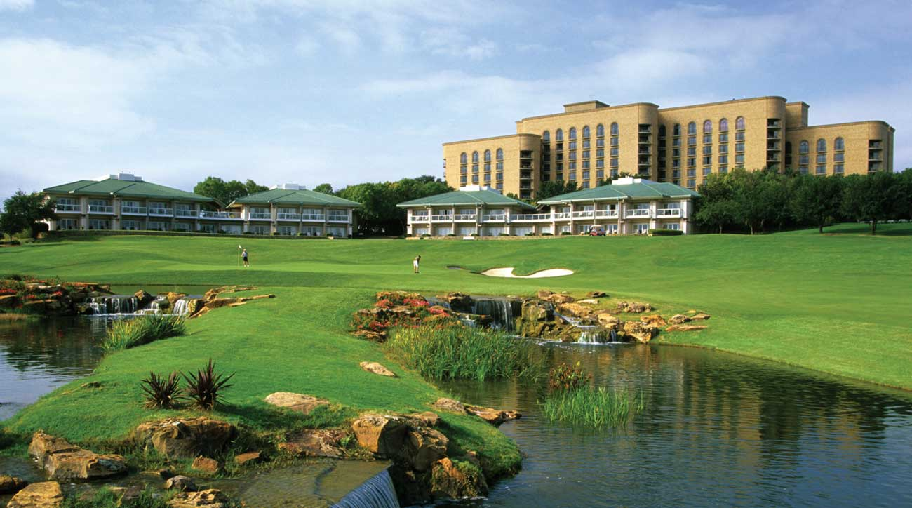 The 18th hole on the TPC course at Four Seasons Resort Las Colinas.