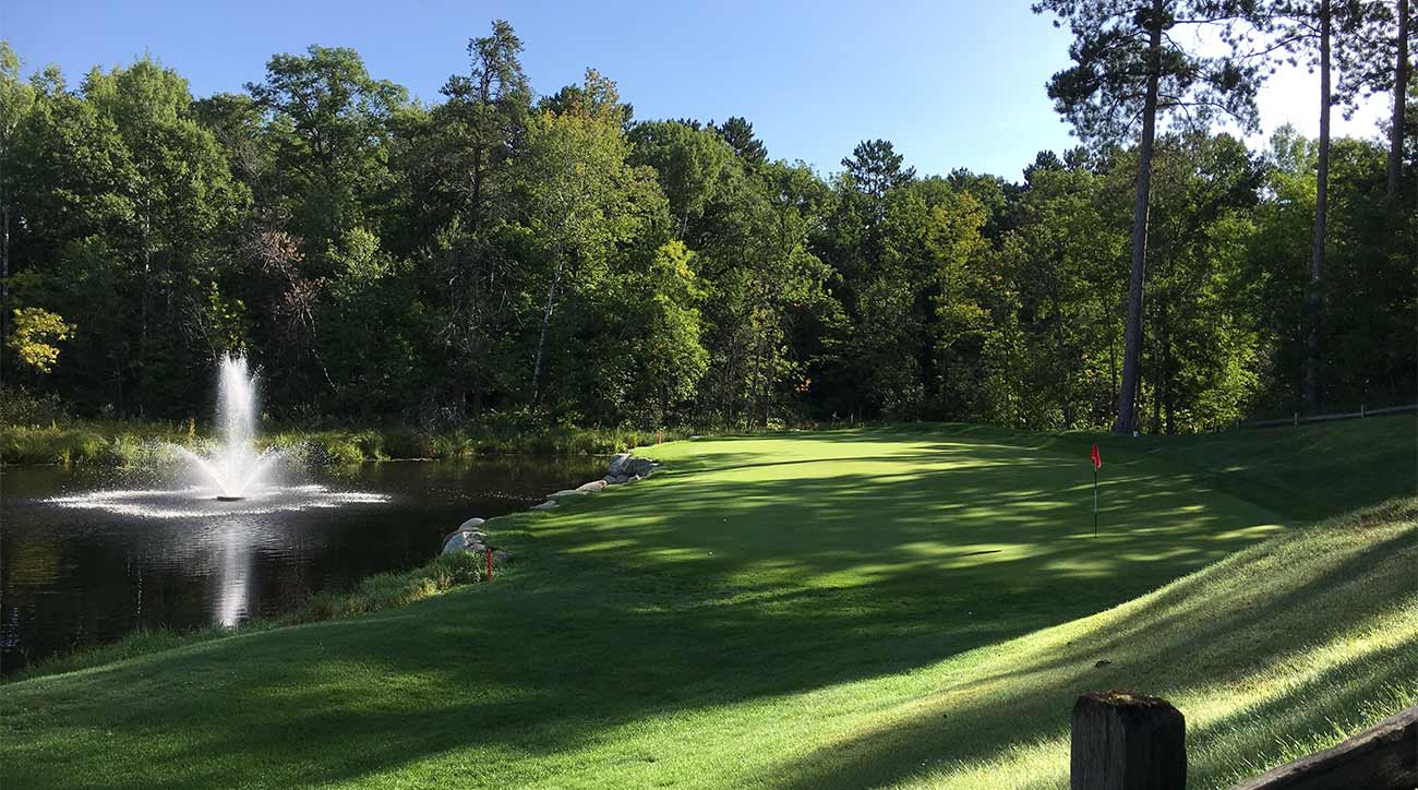 A look at the par-3 7th hole at the Lakes Course at The Pines.
