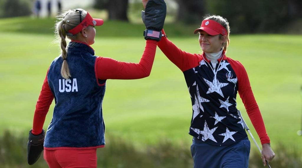 Sisters Jessica Korda (left) and Nelly Korda won their first match of the 2019 Solheim Cup.