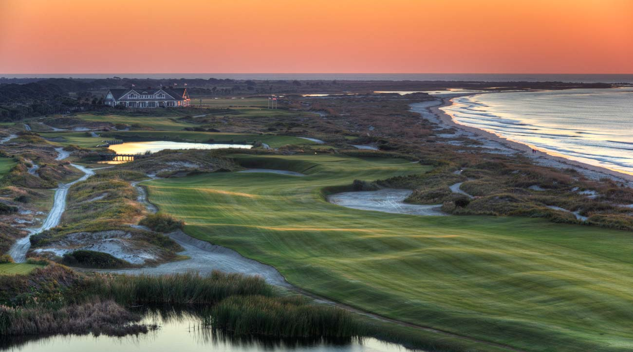 The 16th hole at Kiawah Island's Ocean Course at sunset.