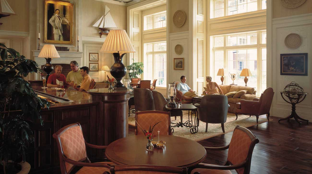 The lobby bar at the oceanfront Sanctuary at Kiawah Island Golf Resort.