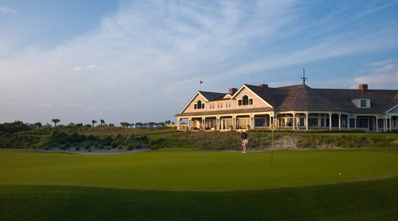 The 18th hole and clubhouse at Kiawah Island's Ocean Course.