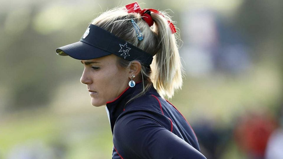 Lexi Thompson battled a tweaked back on Sunday and lost her singles match to Georgia Hall.