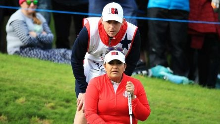 Lizette Salas lines up a putt during the first day of the Solheim Cup.