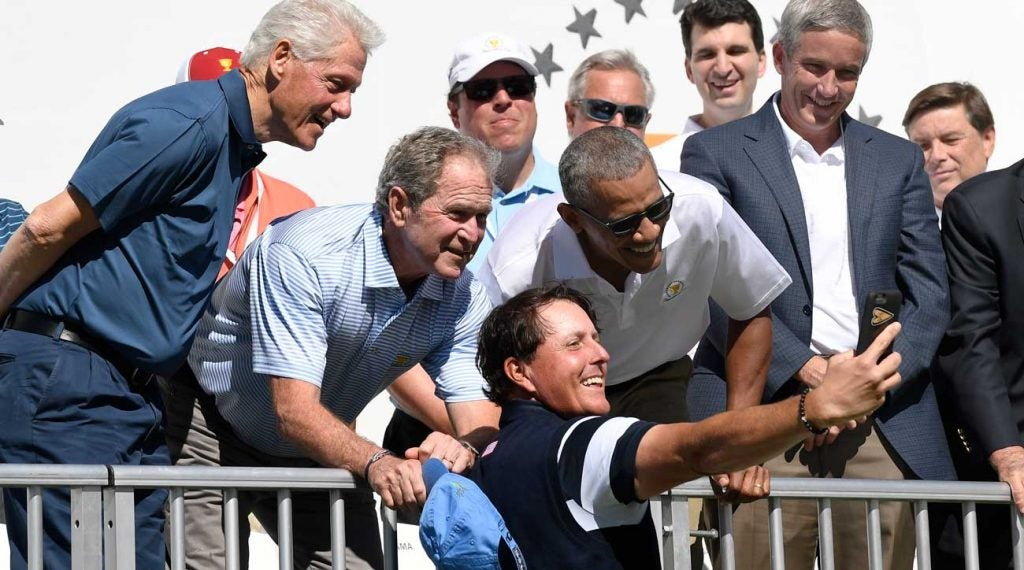 Phil Mickelson was able to bring three past presidents together for this selfie in 2017.