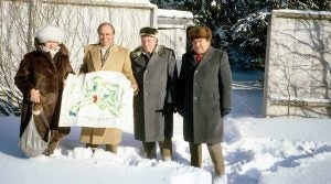 Beneath the snow at Nakhabino lies Moscow CC's routing, mapped out by Bobby Jones, with help from project engineer Olga Korchagina (far left) and Deputy Prime Minister Ivan Ivanovic Sergeyev (second from right).