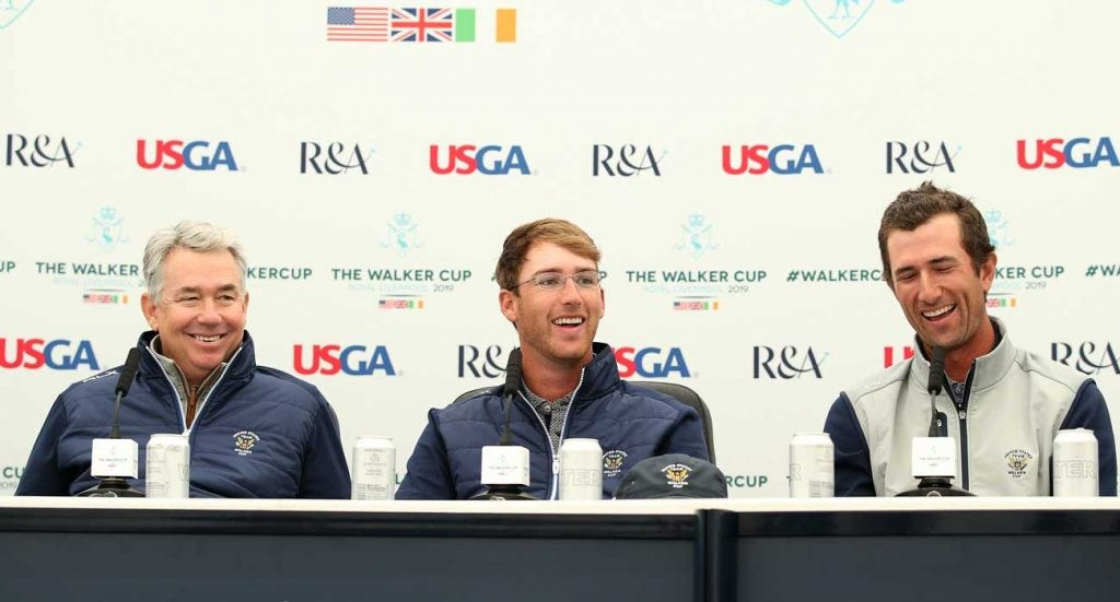 U.S. Walker Cup captain Nathaniel Crosby with players Andy Ogletree and Stewart Hagestad Thursday at Royal Liverpool.