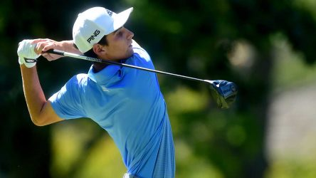 Joaquin Niemann tees off during the final round at The Greenbrier on Sunday.