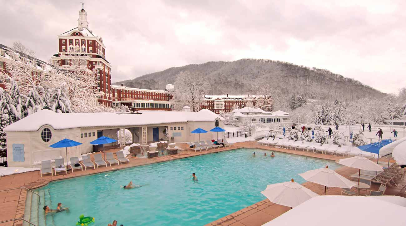 Enjoy skiing and a heated outdoor pool during a winter visit to Omni Homestead Resort.