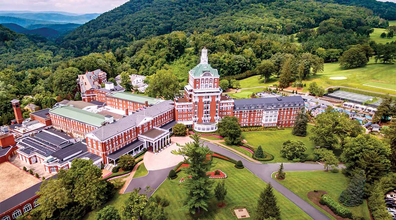 An aerial view of Omni Homestead Resort in Hot Springs, Va.