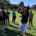 Phil Mickelson takes a jump shot during the Safeway Open Pro-Am.