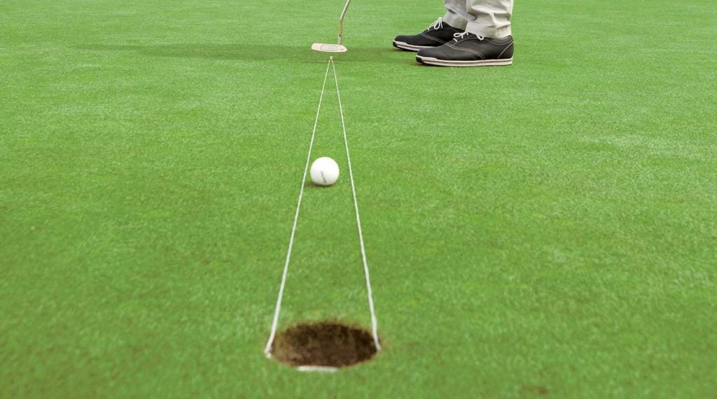 Imagine the area between your ball and the hole as a pizza slice.